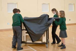 Children from Banwell Primary School put together a portable stage kit by StackaStage