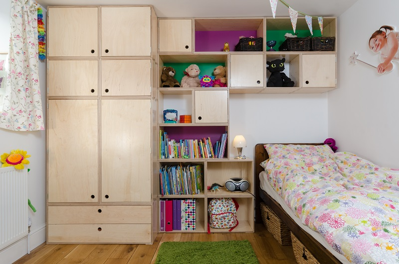 Brand New StackaStore storage, display, and shelving units in a children's bedroom